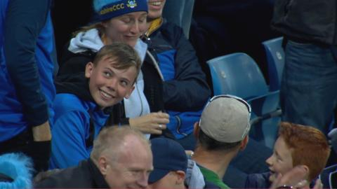 Star of tomorrow? Youngster takes brilliant crowd catch