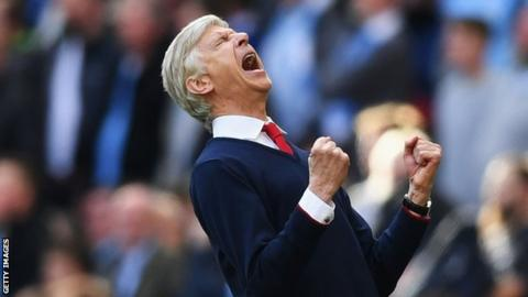 Arsene Wenger roars with relief after Arsenal's FA Cup semi-final win over Manchester City