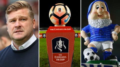 Karl Robinson, an FA Cup ball and Eastleigh's gnome