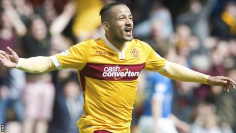 Lionel Ainsworth celebrates scoring for Motherwell