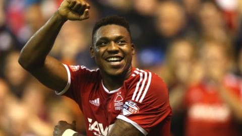 Britt Assombalonga in action for Nottingham Forest