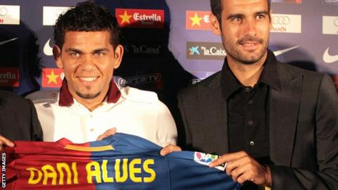 Dani Alves and Pep Guardiola