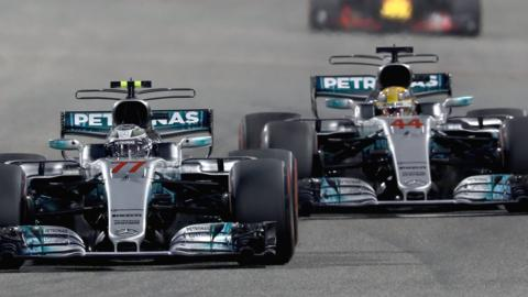 Mercedes F1 drivers Lewis Hamilton and Valtteri Bottas