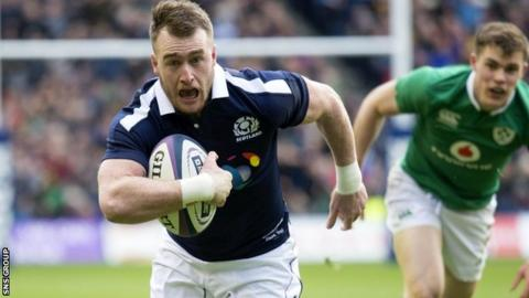 Stuart Hogg in action against Ireland