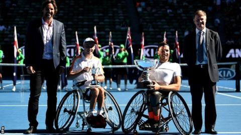 Pat Rafter, Andy Lapthorne of Britain, Dylan Alcott of Australia and Tennis Australia President Steve Healy