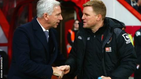 Alan Pardew (left) and Eddie Howe