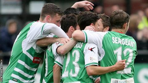 The New Saints celebrate a goal