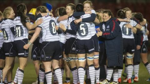 Scotland players celebrate their narrow win over Italy