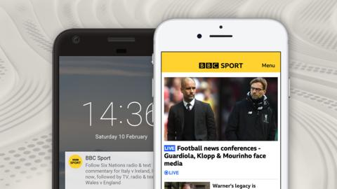 An image depicting the features of the BBC Sport app - notifications on a home screen and the home page