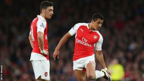Arsenal's Mesut Ozil (left) and Alexis Sanchez