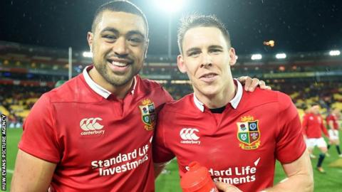 Taulupe Faletau and Liam Williams celebrate Lions' second Test win over New Zealand