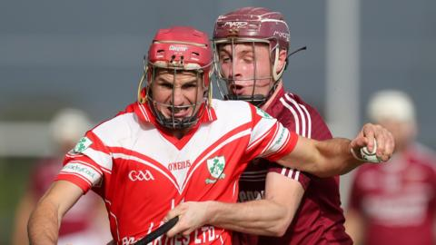 Action from the Ulster hurling final at Ballycastle