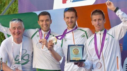 Ireland team members Cian McManamon, Alex Wright and Robert Heffernan with team manager Patsy McGonagle