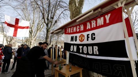 Manchester United fans in Saint Etienne