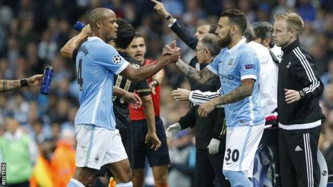 Vincent Kompany leaves the field after being substituted for Nicolas Otamendi