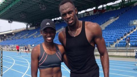 American student Candace Hill (left) and 100m men's world record holder Usain Bolt