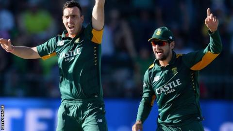 Kyle Abbott and Rilee Rossouw in action for South Africa