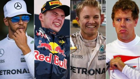 Hamilton, Vertsappen, Rosberg and Vettel