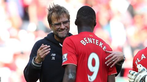Jurgen Klopp and Christian Benteke of Liverpool