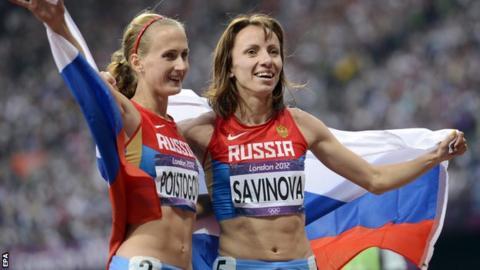 Mariya Savinova (right) and Ekaterina Poistogova