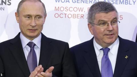 Russian President Vladimir Putin (left) and IOC president Thomas Bach