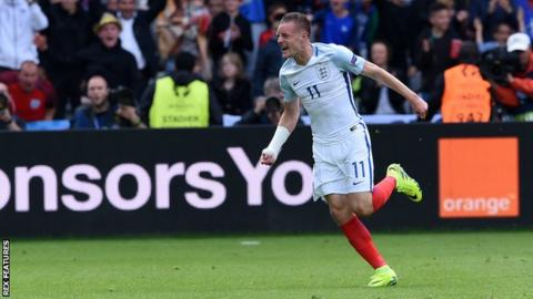 Vardy celebrates a goal