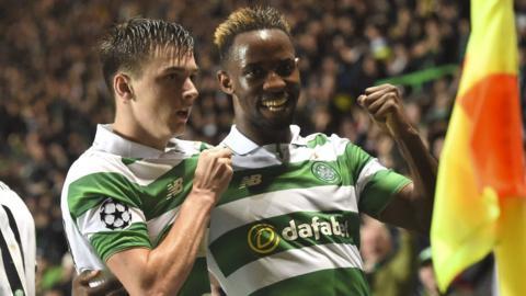 Moussa Dembele celebrates scoring Celtic's opening goal