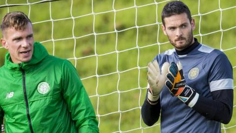 Celtic's Dorus de Vries and Craig Gordon in training on Tuesday