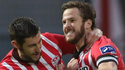 Aaron Barry and Ryan McBride of Derry City