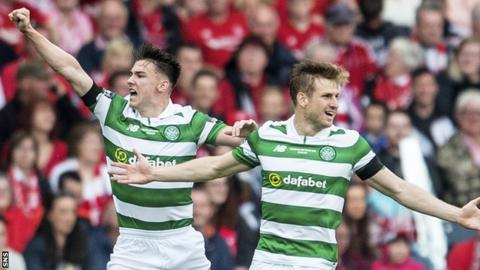 Celtic's Kieran Tierney and Stuart Amstrong celebrate