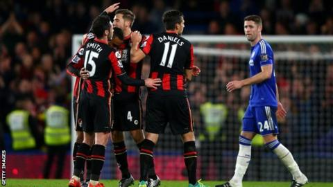 Bournemouth celebrate scoring against Chelsea