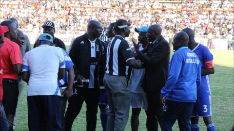 Officials argue at Barbourfields stadium