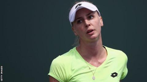 Naomi Broady reacts after losing to Marina Erakovic