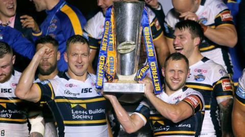 Leeds lift the Super League trophy