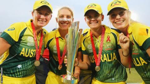 Australia's players after their Women's World T20 win in 2014