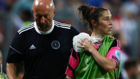 Scotland striker Jane Ross damaged her shoulder during the defeat to England