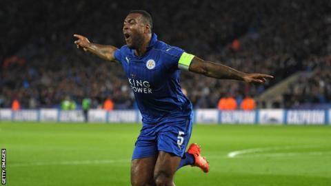 Wes Morgan scored against Sevilla in the last 16 of the Champions League