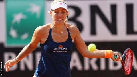 Garbine Muguruza survives day of shocks in Rome, Angelique Kerber out