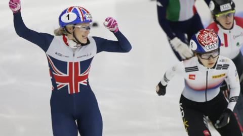 British short track speed skater Elise Christie (left)