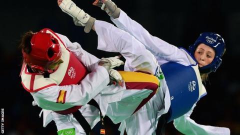 Jade Jones in action against Spain's Eva Calvo Gomez
