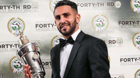 Riyad Mahrez with his PFA Player of the Year award