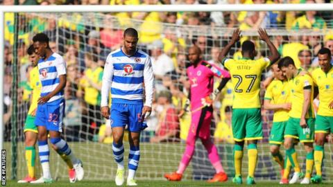 Reading concede one of their seven goals at Norwich