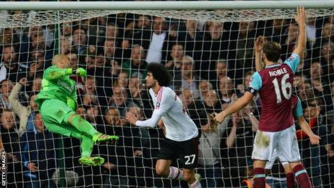 Marouane Fellaini scores for Man United against West Ham