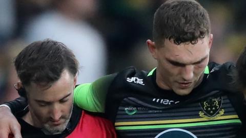 George North is helped off against Saracens