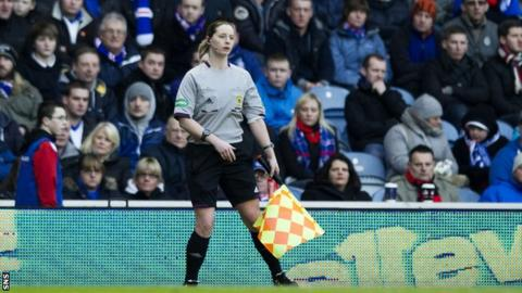 Lorraine Watson runs the line at Ibrox in 2013