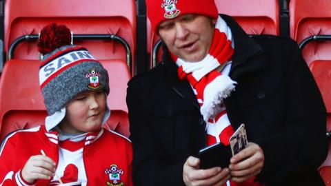 Southampton fans ahead of the match