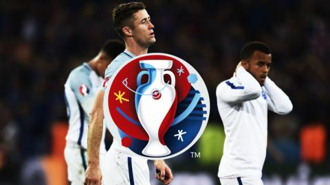 England players after their defeat to Iceland