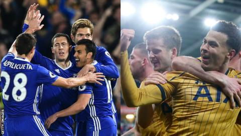 Chelsea and Tottenham are the top two in the Premier League