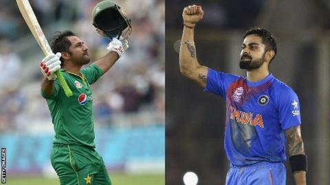 Pakistan captain Sarfaz Ahmed (L) and his Indian counterpart Virat Kholi (R)