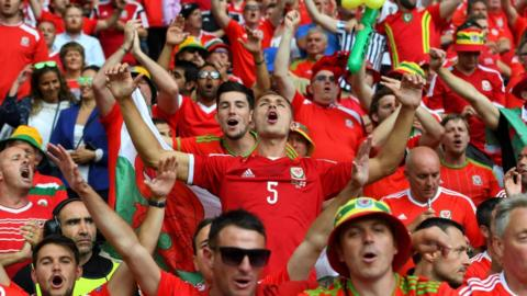 Wales fans celebrate their team's win over Northern Ireland